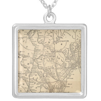Railway map New England States Silver Plated Necklace