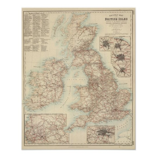 Railway Map of the British Isles Poster