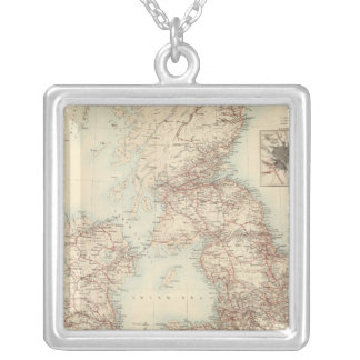 Railway Map of the British Isles Silver Plated Necklace