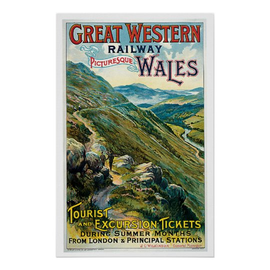 Railway Picturesque Wales England Vintage Travel Poster
