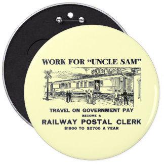 Railway Postal Clerk 1926 6 Cm Round Badge