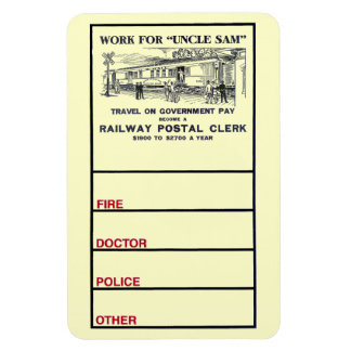 Railway Postal Clerk 1926 Photo Magnet