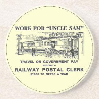 Railway Postal Clerk 1926 Sandstone Drink Coaster