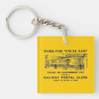 Railway Postal Clerk 1926 Square Keychain Square Acrylic Keychain