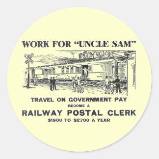 Railway Postal Clerk 1926 Round Sticker