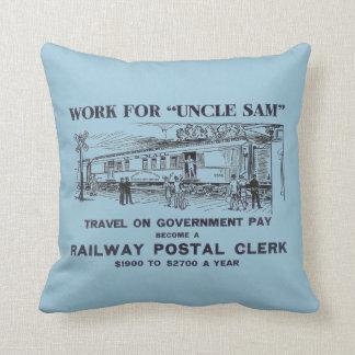 Railway Postal Clerk 1926 Throw Cushion