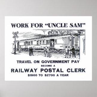 Railway Postal Clerk Print 1926 Poster