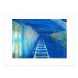 Railway running through the starry nights ポストカード