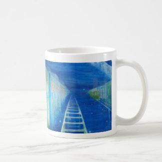 Railway running through the starry nights coffee mug