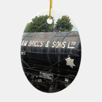 Railway scene - tankers - vintage ceramic oval decoration