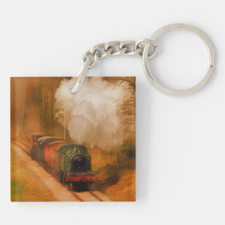 Railway Train Spotters Steam Engine & Smoke Double-Sided Square Acrylic Key Ring