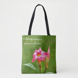 Rain adds beauty floral tote bag