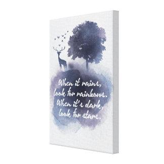 Rain and Dark Inspirational Saying Night Canvas
