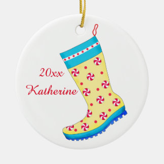 Rain Boot Shoe Lover Christmas Stocking Name Round Ceramic Decoration