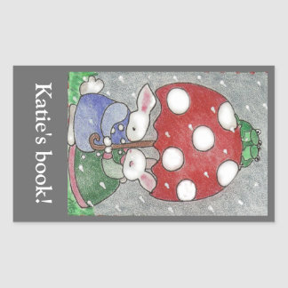 Rain Bunnies bookplate Rectangular Sticker