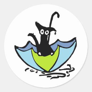 Rain Cat - Sitting in an Umbrella Round Sticker