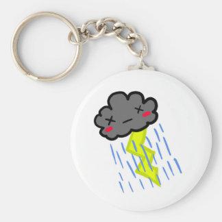 Rain Cloud Basic Round Button Key Ring