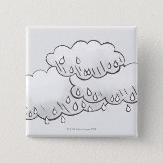 Rain Clouds 15 Cm Square Badge