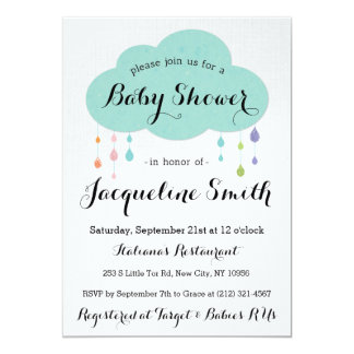 Rain Drop Glitter Baby Shower Invitation