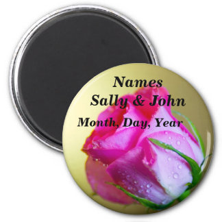 Rain Drop Kisses of Nature on Pink Rose 6 Cm Round Magnet