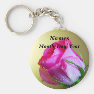 Rain Drop Kisses of Nature on Pink Rose Basic Round Button Key Ring