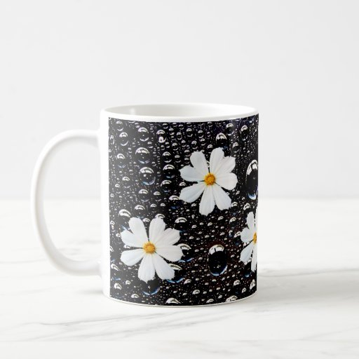 rain Drop with Cosmos Flower Mugs