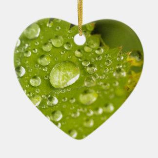 Rain droplets on a green leaf christmas ornament
