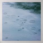 Rain drops and water ripples poster