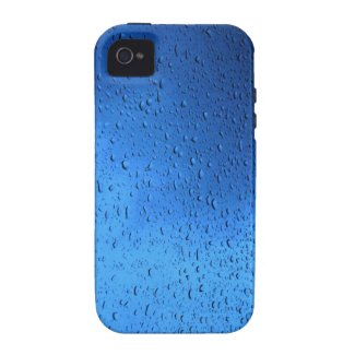 Rain Drops on Blue Glass Case-Mate iPhone 4 Case
