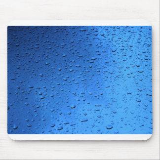 Rain Drops on Blue Glass Mousepads