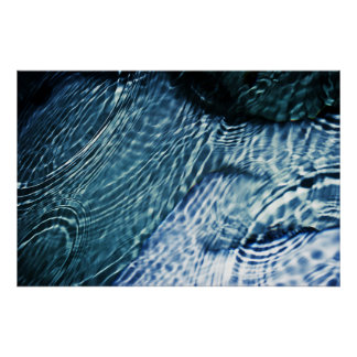 Rain drops on water poster