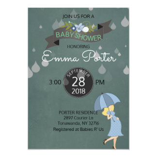 Rain Drops Shower Umbrella Baby Shower Card