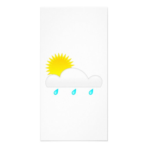Rain Drops with Cloud Photo Card Template