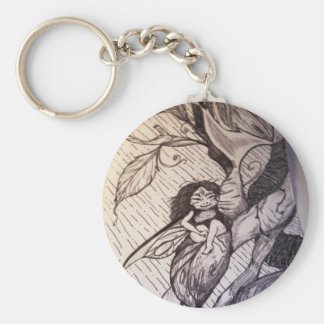 Rain Fairy Basic Round Button Key Ring