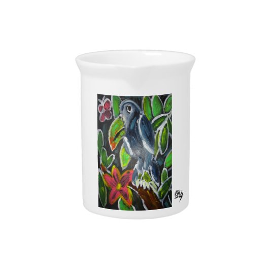 Rain forest toucan art pitcher