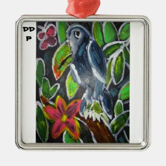 Rain forest  toucan art Silver-Colored square decoration