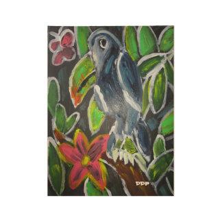 Rain forest  toucan art wood poster