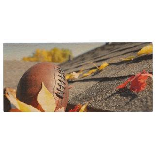Rain Gutter Full Of Autumn Leaves Wood USB 2.0 Flash Drive