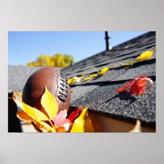 Rain Gutter Full Of Autumn Leaves Poster