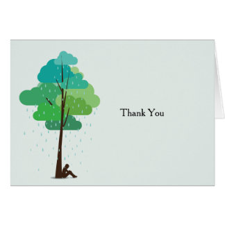 Rain in my Heart Folded Bereavement Thank You Note Card