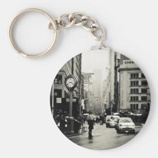 Rain in New York City - Vintage Style Key Ring