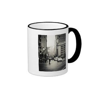 Rain in New York City - Vintage Style Ringer Mug