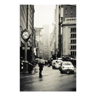 Rain in New York City - Vintage Style Stationery