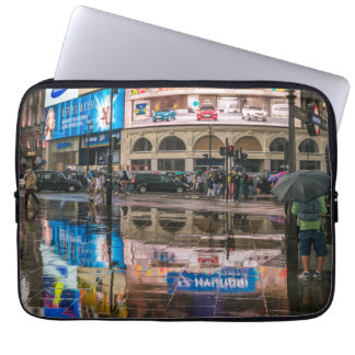 Rain in Piccadilly Circus laptop sleeve