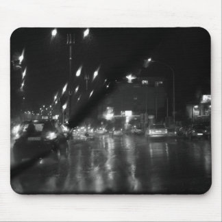Rain in the city mouse mat