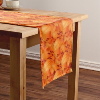 Rain-Kissed Orange Asiatic Tiger Lilies Long Table Runner
