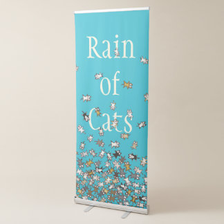 Rain of Cats Blue Custom text Retractable Banner