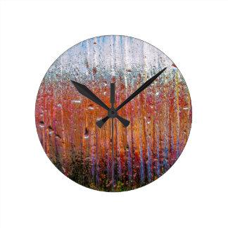rain on colorful glass round clock