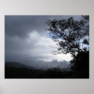 Rain over Honolulu Poster