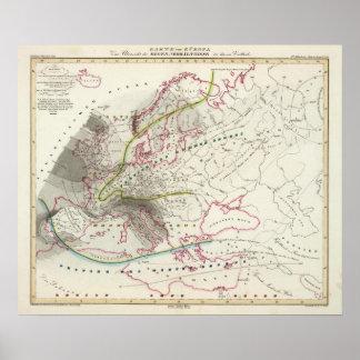 Rain Patterns in Europe Poster